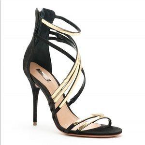 Schutz Ezri High Heel Sandal in Black and Gold